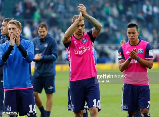 sports football Bundesliga 2016/2017 Borussia Moenchengladbach versus Hamburger SV 00 Stadium Borussia Park after the final whistle HSV players thank...