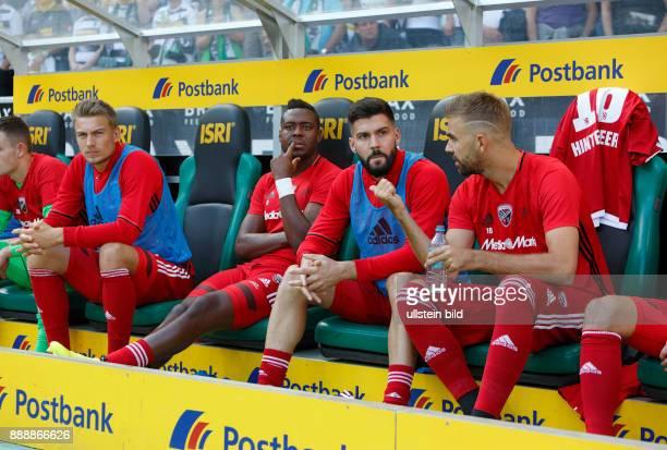 sports football Bundesliga 2016/2017 Borussia Moenchengladbach versus FC Ingolstadt 04 20 Stadium Borussia Park players bench fltr Hauke Finn Wahl...
