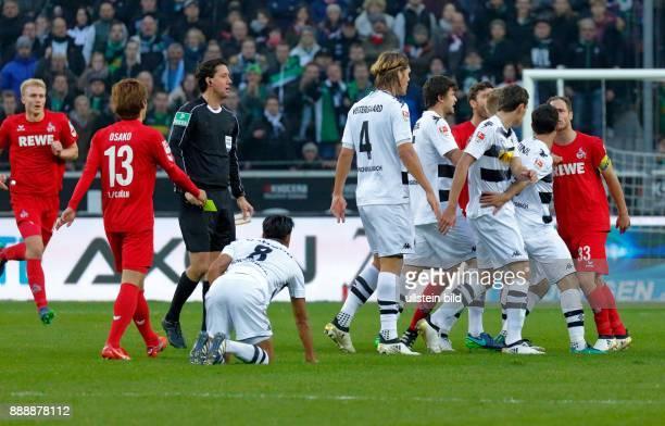 sports football Bundesliga 2016/2017 Borussia Moenchengladbach versus 1 FC Koeln 12 Stadium Borussia Park mass confrontation after foul play fltr...