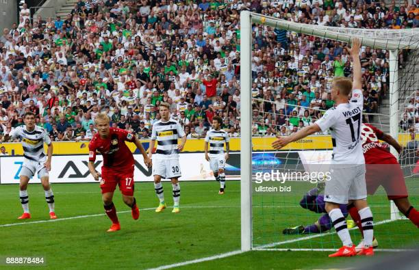sports football Bundesliga 2016/2017 Borussia Moenchengladbach versus Bayer 04 Leverkusen 21 Stadium Borussia Park equaliser goal of Leverkusen for...