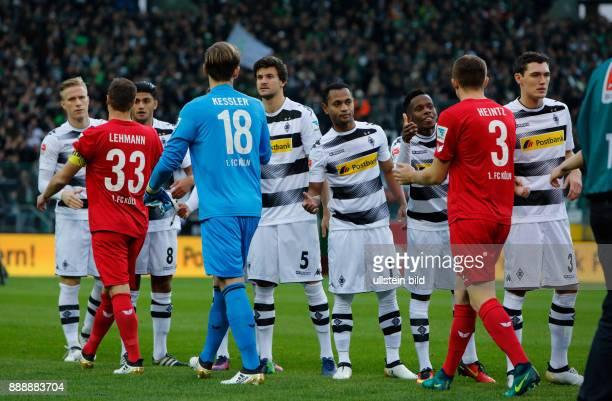 sports football Bundesliga 2016/2017 Borussia Moenchengladbach versus 1 FC Koeln 12 Stadium Borussia Park welcome of the teams handshake fltr Oscar...