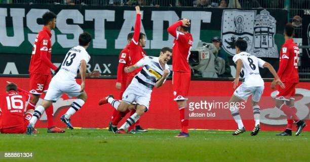 sports football Bundesliga 2016/2017 Borussia Moenchengladbach vs 1 FSV Mainz 05 10 Stadium Borussia Park golden goal to Gladbach fltr Aaron Seydel...