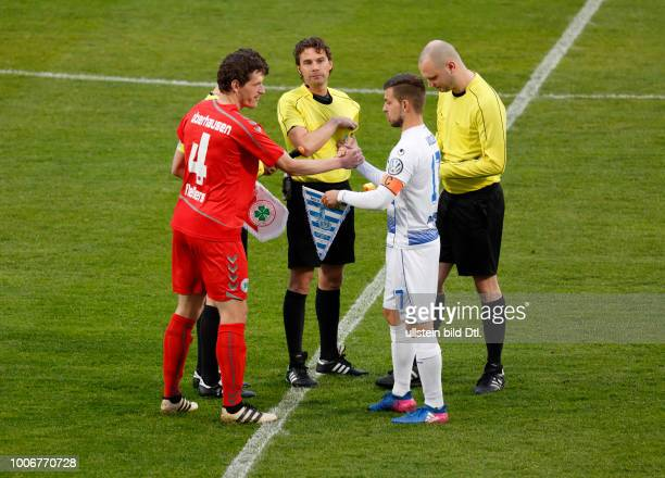 sports football Lower Rhine Cup 2016/2017 semifinal Rot Weiss Oberhausen vs MSV Duisburg 03 Stadium Niederrhein in Oberhausen welcome pennant change...