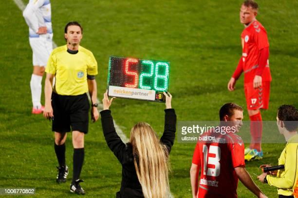 sports football Lower Rhine Cup 2016/2017 semifinal Rot Weiss Oberhausen vs MSV Duisburg 03 Stadium Niederrhein in Oberhausen woman holds a...