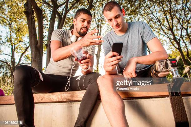 Sports friends resting after exercise