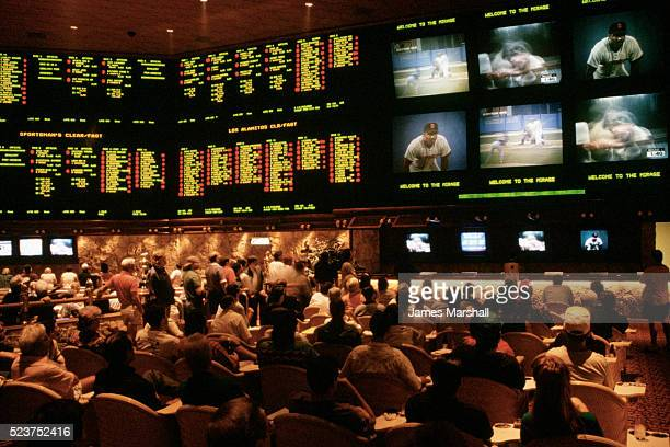 sports gamblers betting at casino lounge - sports betting stock pictures, royalty-free photos & images