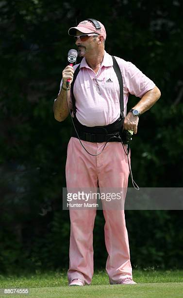 Sports golf analyst David Feherty wears a pink outfit in support of Amy Mickelson and breast cancer research during the third round of the Crowne...