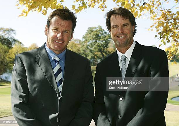 Sports golf announcers Nick Faldo and Paul Azinger pose for a portrait during the first round of the Tour Championship at East Lake Golf Club on...