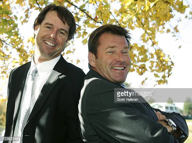 Sports golf announcers Paul Azinger and Nick Faldo pose for a portrait during the first round of the Tour Championship at East Lake Golf Club on...