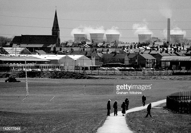A sports ground in St Helens Lancashire with both a residential and industrial backdrop 18th April 1979
