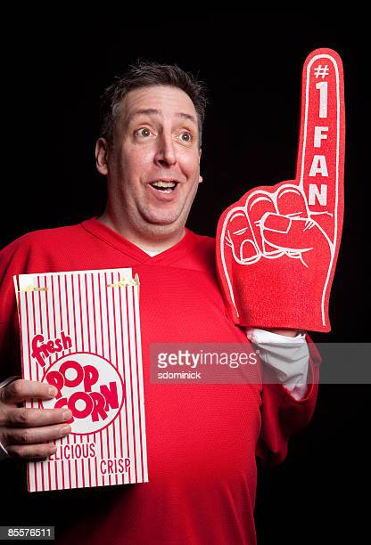 sports guys 33 - foam finger stock photos and pictures