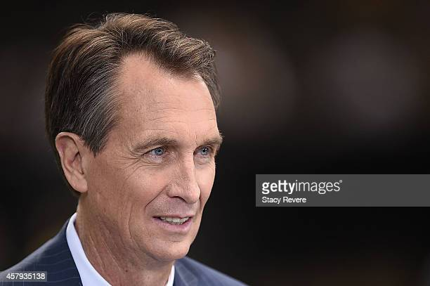 Sports host Cris Collinsworth seen prior to a game between the New Orleans Saints and the Green Bay Packers at the MercedesBenz Superdome on October...