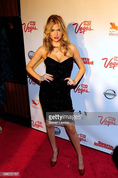 Sports Illstrated swimsuit model Kate Upton arrives for a party at LAX Nightclub on February 16 2011 in Las Vegas Nevada