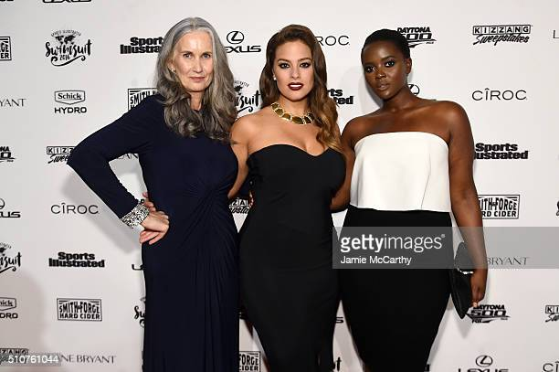 Sports Illustrated cover model Ashley Graham poses with model Nicola Griffin and Philomena Kwao at the Sports Illustrated Swimsuit 2016 NYC VIP press...