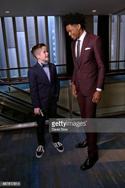 Sports Illustrated Kids Reporter Max Bonnstetter talks with NBA Draft Prospect De'Aaron Fox during the 2017 NBA Draft Lottery at the New York Hilton...