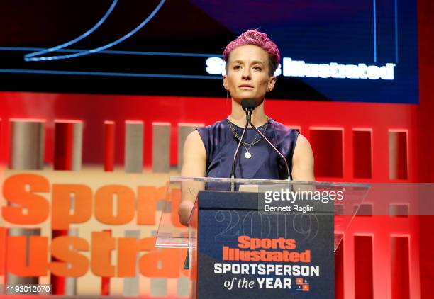 Sports Illustrated Sportsperson of the Year Award Winner Megan Rapinoe speaks onstage during the Sports Illustrated Sportsperson Of The Year 2019 at...