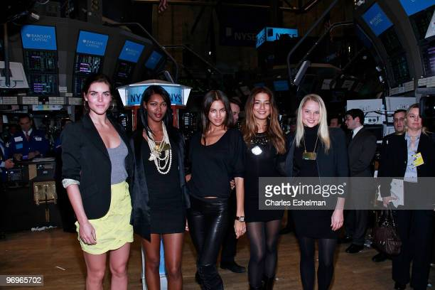 Sports Illustrated Swimsuit 2010 models Hilary Rhoda Jessica White Irina Shayk Jessica Gomes and Genevieve Morton tour the trading floor at the New...