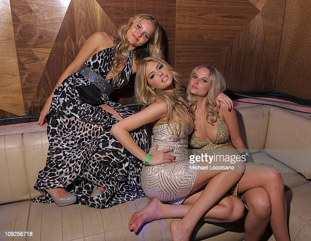 Sports Illustrated swimsuit athlete Bruna Schmitz and Sports Illustrated swimsuit models Kate Upton and Genevieve Morton attend Club SI Swimsuit...