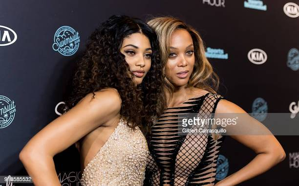 Sports Illustrated Swimsuit cover model Danielle Herrington and model/TV personality Tyra Banks attend the 2018 Sports Illustrated Swimsuit Issue...