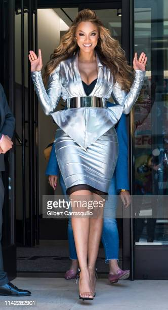 Sports Illustrated Swimsuit Cover Model Tyra Banks is seen leaving BuzzFeed on May 08, 2019 in New York City.
