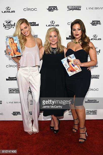 Sports Illustrated Swimsuit editor MJ Day poses with Sports Illustrated cover models Hailey Clauson and Ashley Graham at the Sports Illustrated...