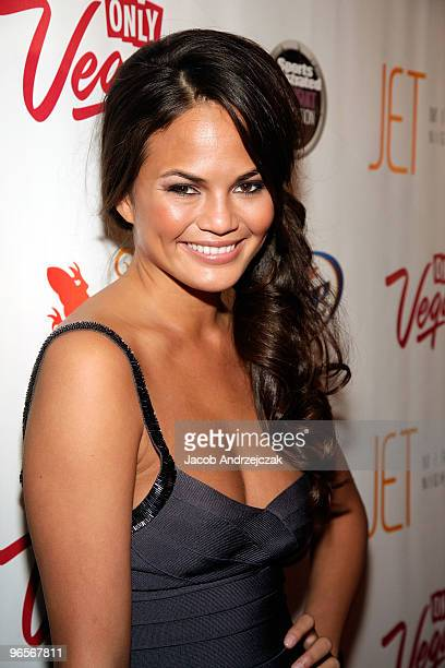 Sports Illustrated swimsuit model Christine Teigen arrives at the Sports Illustrated Swimsuit 24/7 SI Swimsuit On Location at Jet Nightclub at The...