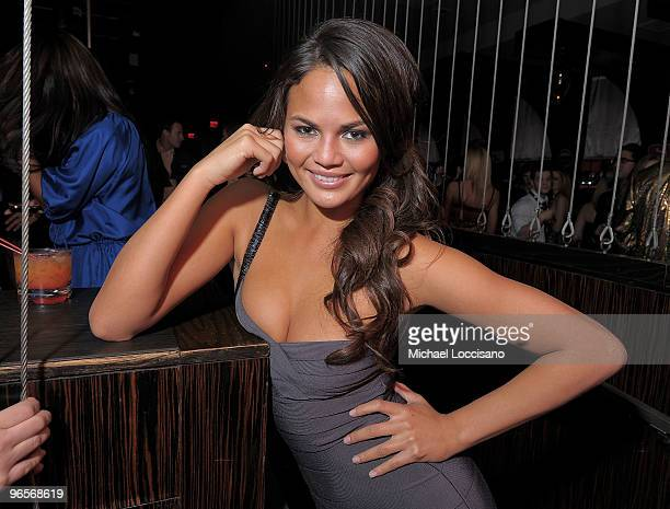 Sports Illustrated swimsuit model Christine Teigen attends the Sports Illustrated Swimsuit 24/7 SI Swimsuit On Location at Jet Nightclub at The...
