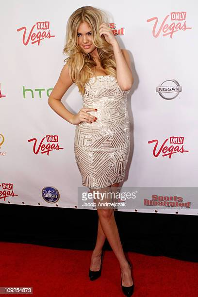 Sports Illustrated swimsuit model Kate Upton arrives at Club SI Swimsuit hosted by Vanity at Vanity Nightclub at The Hard Rock Hotel and Casino on...