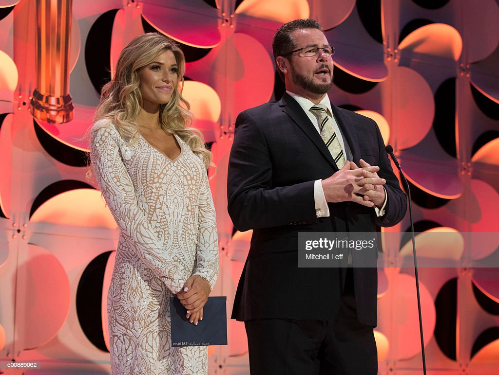 Sports Illustrated swimsuit model Samantha Hoopes and former Philadelphia Phillies pitcher Mitch Williams present during the Team USA awards presented by Dow, best of the year on December 10, 2015 at the University of Pennsylvania in Philadelphia, Pennsylvania.