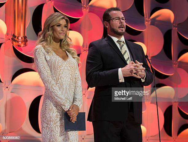Sports Illustrated swimsuit model Samantha Hoopes and former Philadelphia Phillies pitcher Mitch Williams present during the Team USA awards...