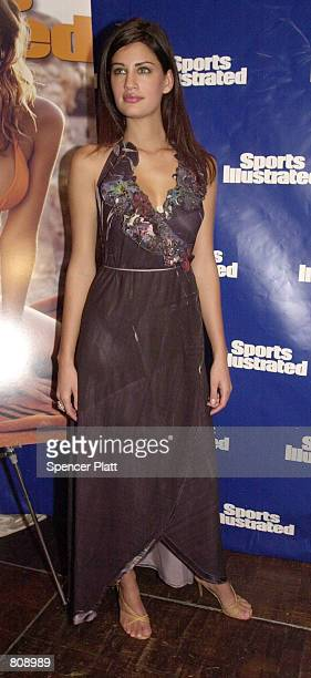 Sports Illustrated swimsuit model Yamila Diaz poses during the unveiling of the annual swimsuit issue February 20 2001 in New York City Sports...