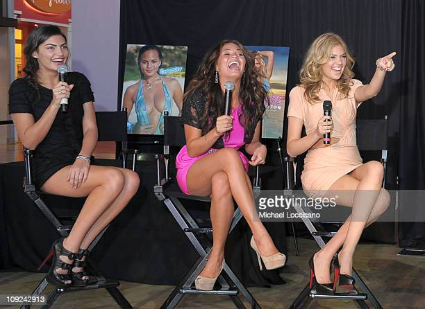 Sports Illustrated swimsuit models Alyssa Miller Christine Teigen and Kate Upton speak onstage during the SI Swimsuit Fashion Beauty Roundtable at...