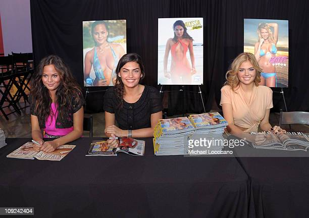 Sports Illustrated swimsuit models Christine Teigen Alyssa Miller and Kate Upton attend the SI Swimsuit Fashion Beauty Roundtable at The Fashion Show...