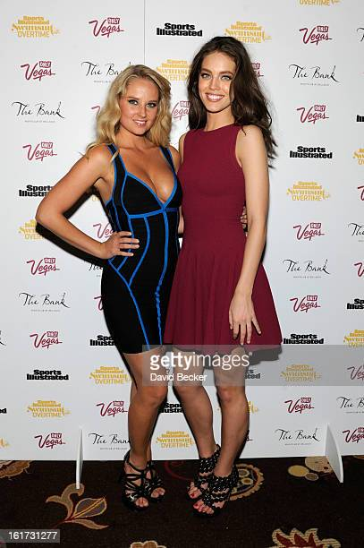 Sports Illustrated swimsuit models Genevieve Morton and Emily DiDonato attend the SI Swimsuit VVIP after party at The Bank Nightclub at the Bellagio...