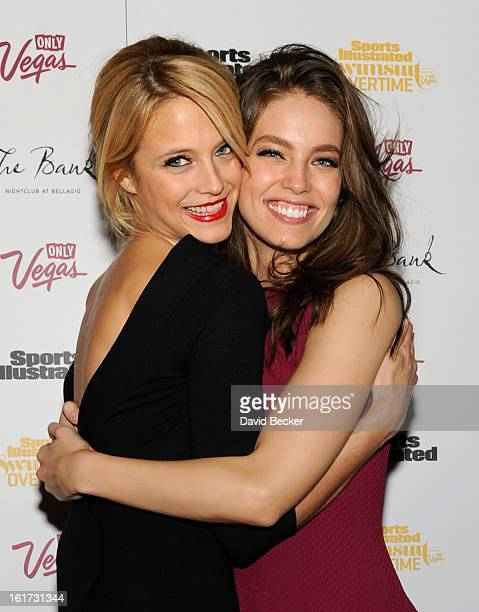 Sports Illustrated swimsuit models Kate Bock and Emily DiDonato attend the SI Swimsuit VVIP after party at The Bank Nightclub at the Bellagio on...