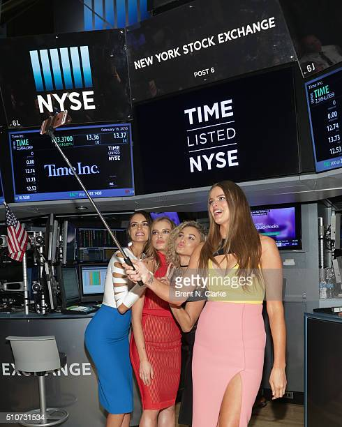 Sports Illustrated Swimsuit models Sofia Resing Tanya Mityushina Rose Bertram and Robyn Lawley pose for selfies before Time Inc Sports Illustrated...