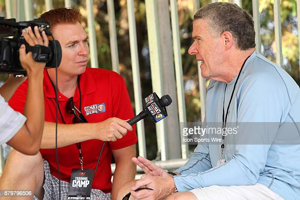 Sports Illustrated writer Peter King giving an interview while watching the Buccaneers Training Camp at One Buccaneer Place in Tampa Florida
