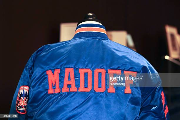 A sports jacket is displayed during a media preview for an auction which includes jewelry and other personal items belonging to Bernard Madoff in New...