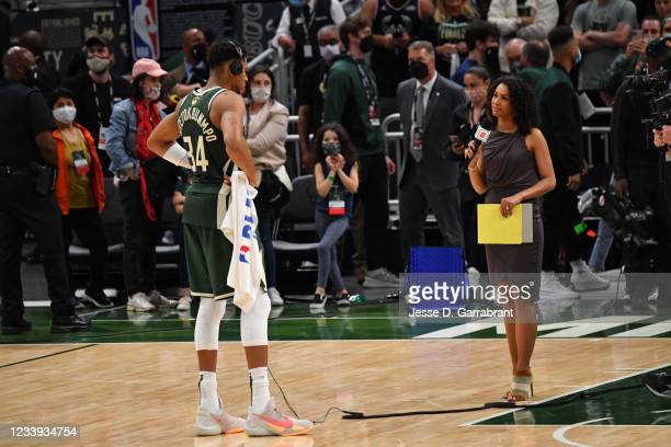 Sports journalist and reporter, Malika Andrews interviews Giannis Antetokounmpo of the Milwaukee Bucks after Game Three of the 2021 NBA Finals on...