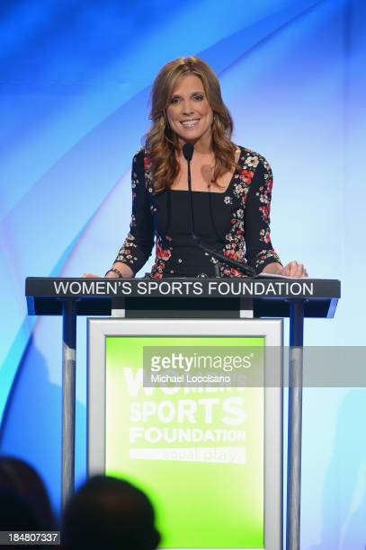 ESPN sports journalist Hannah Storm speaks onstage at the 34th annual Salute to Women In Sports Awards at Cipriani Wall Street on October 16 2013 in...