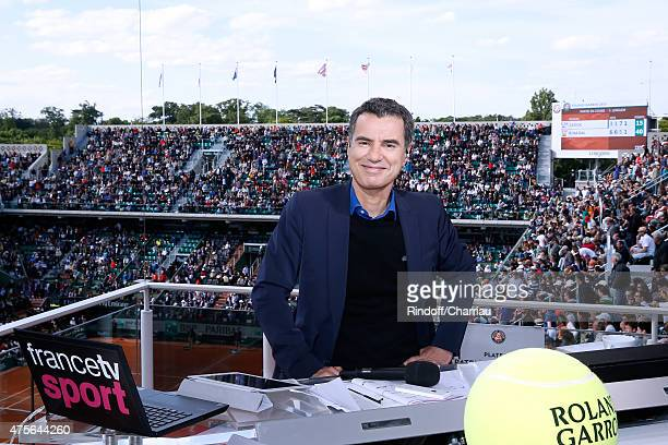 Sports journalist Laurent Luyat poses at France Television french chanel studio during the 2015 Roland Garros French Tennis Open - Day Nine on June...