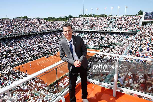 Sports journalist Laurent Luyat poses at France Television french chanel studio during the Men Final of 2015 Roland Garros French Tennis Open - Day...