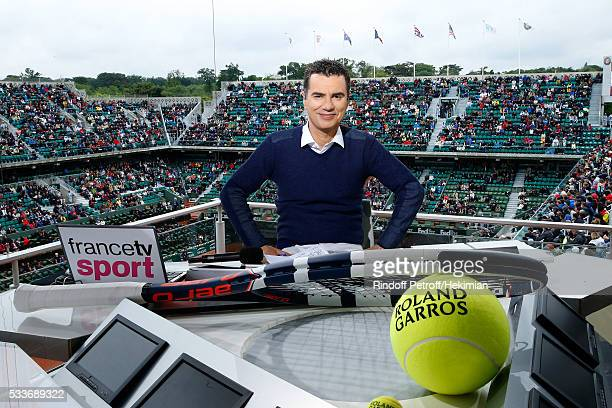 Sports journalist Laurent Luyat poses at France Television french chanel studio during the 2016 French Tennis Open - Day Two at Roland Garros on May...