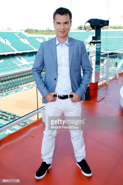 Sports Journalist Laurent Luyat poses at France Television french chanel studio during the Women Final of the 2017 French Tennis Open Day Fourteen at...
