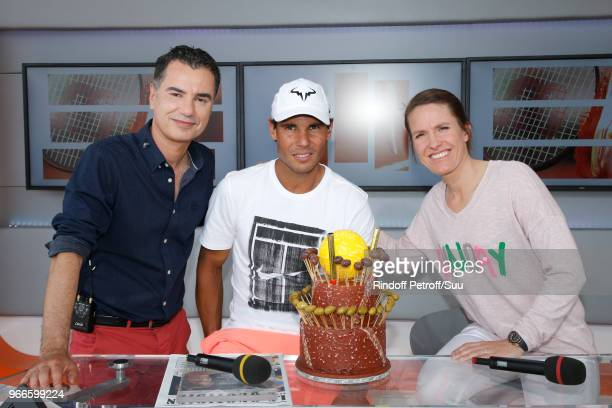 Sports Journalist Laurent Luyat Rafael Nadal and Tennis player Justine Henin attend Tennis Player Rafael Nadal is celebrating his 32nd Birthday at...