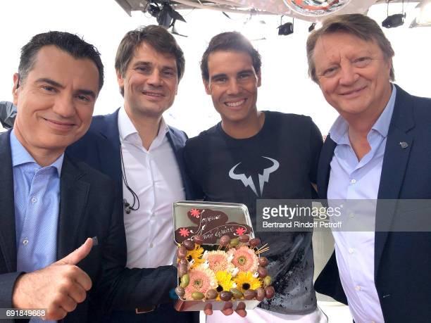 Sports Journalist Laurent Luyat Tennis player Arnaud Boetsch Tennis player Rafael Nadal and journalist Lionel Chamoulaud attend Rafael Nadal...
