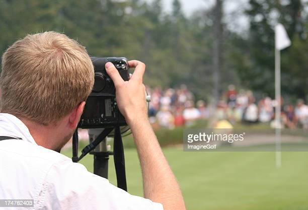 Sports Journalist Photographing Professional Golf Tournament