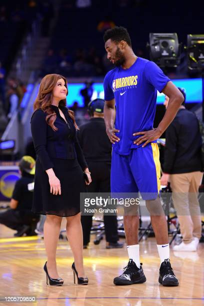 Sports journalist Rachel Nichols talks with Andrew Wiggins of the Golden State Warriors before the game on March 7, 2020 at Chase Center in San...