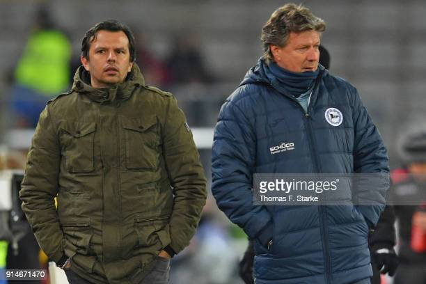 Sports manager Samir Arabi and head coach Jeff Saibene of Bielefeld watch their players during the Second Bundesliga match between DSC Arminia...
