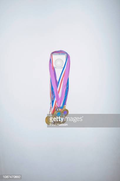 sports medals hanging on wall thermostat - 数個の物 ストックフォトと画像